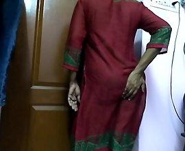 Indian Wife Teasing In Red Churidaar Before Sex