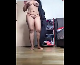 Indian bhabhi home alone getting naked showing her big ass